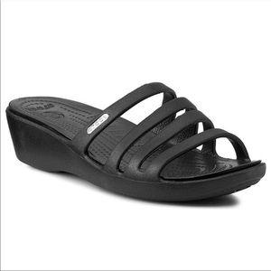 Crocs Rhonda Black Slide On Sandals Size 8